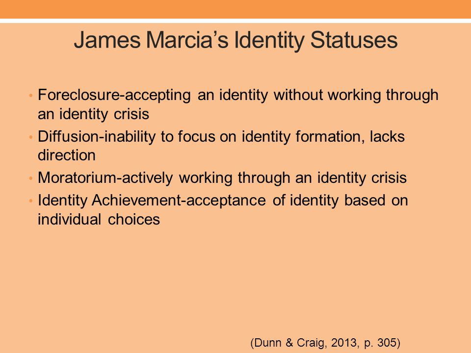 James Marcia's Identity Statuses Foreclosure-accepting an identity without working through an identity crisis Diffusion-inability to focus on identity formation, lacks direction Moratorium-actively working through an identity crisis Identity Achievement-acceptance of identity based on individual choices (Dunn & Craig, 2013, p.