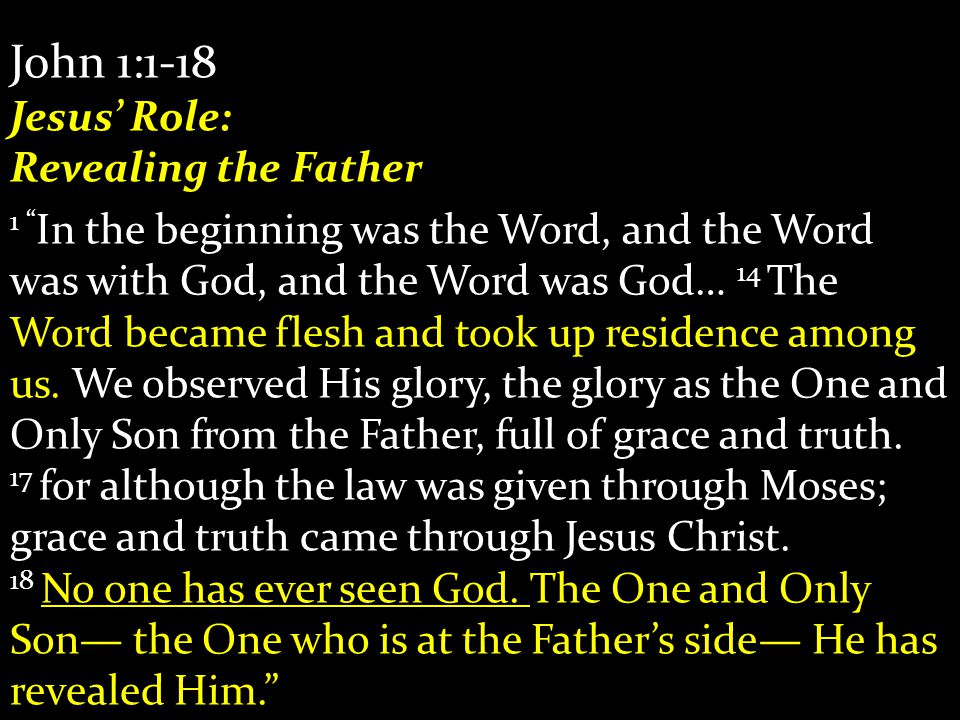 "John 1:1-18 Jesus' Role: Revealing the Father 1 "" In the beginning was the Word, and the Word was with God, and the Word was God… 14 The Word became f"