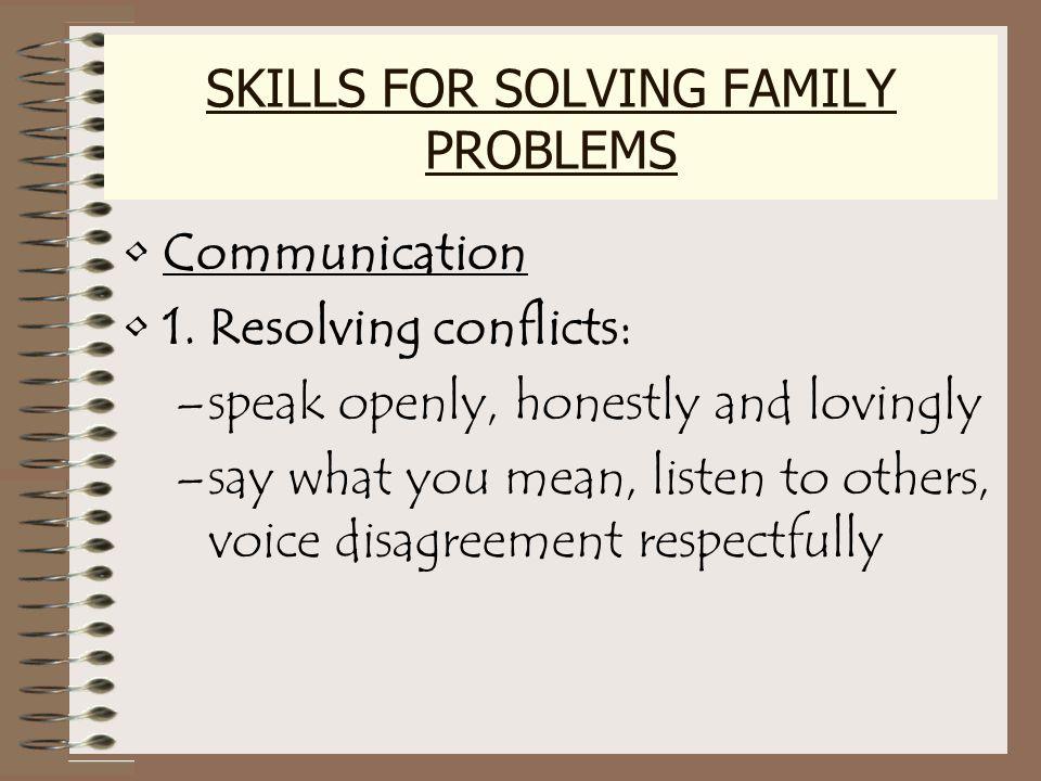 SKILLS FOR SOLVING FAMILY PROBLEMS Communication 1.