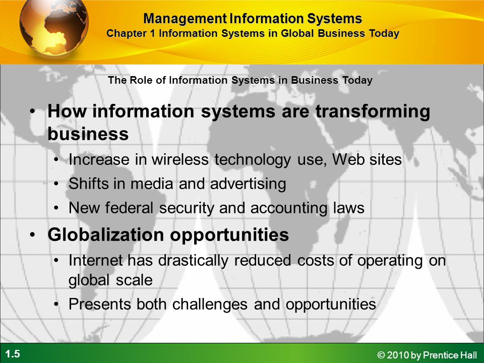 1.5 © 2010 by Prentice Hall The Role of Information Systems in Business Today How information systems are transforming business Increase in wireless t