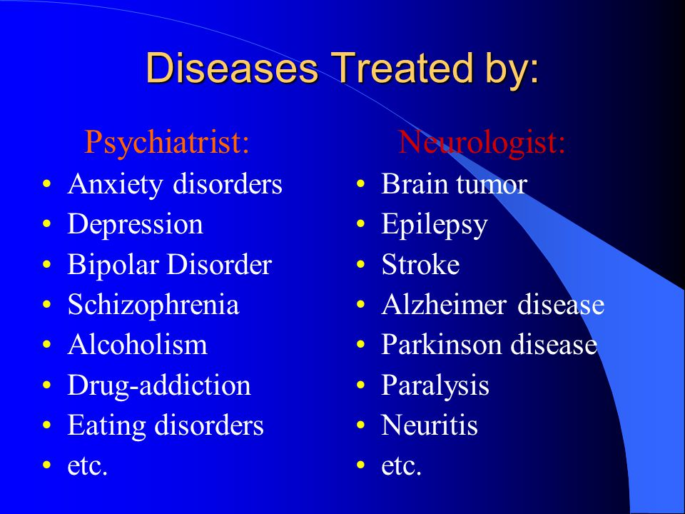 Diseases Treated by: Psychiatrist: Anxiety disorders Depression Bipolar Disorder Schizophrenia Alcoholism Drug-addiction Eating disorders etc.