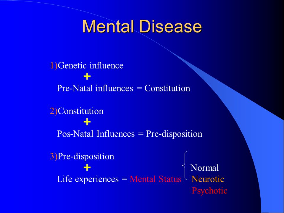 Mental Disease 1)Genetic influence  Pre-Natal influences = Constitution 2)Constitution  Pos-Natal Influences = Pre-disposition 3)Pre-disposition  Normal Life experiences = Mental Status Neurotic Psychotic
