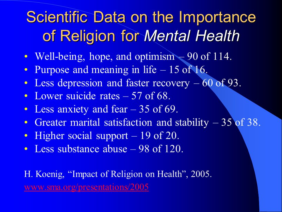 Scientific Data on the Importance of Religion for Mental Health Well-being, hope, and optimism – 90 of 114. Purpose and meaning in life – 15 of 16. Le