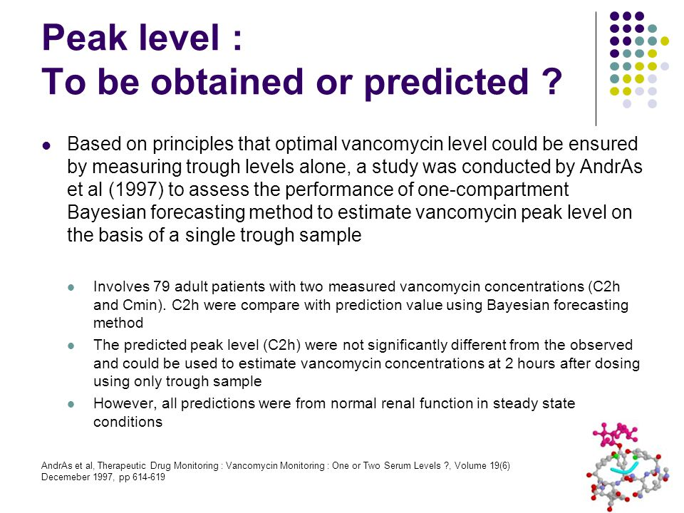 Peak level : To be obtained or predicted ? Based on principles that optimal vancomycin level could be ensured by measuring trough levels alone, a stud