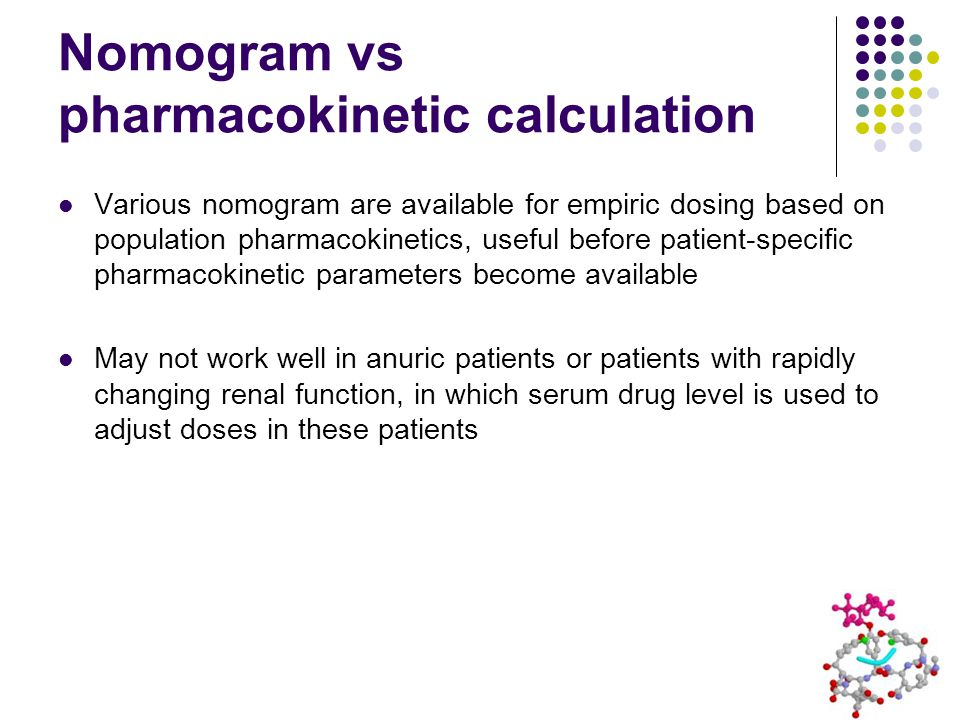 Nomogram vs pharmacokinetic calculation Various nomogram are available for empiric dosing based on population pharmacokinetics, useful before patient-specific pharmacokinetic parameters become available May not work well in anuric patients or patients with rapidly changing renal function, in which serum drug level is used to adjust doses in these patients