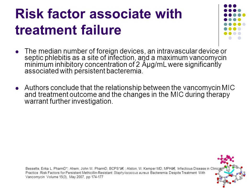 Risk factor associate with treatment failure The median number of foreign devices, an intravascular device or septic phlebitis as a site of infection, and a maximum vancomycin minimum inhibitory concentration of 2 µg/mL were significantly associated with persistent bacteremia.