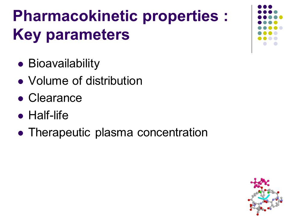 Pharmacokinetic properties : Key parameters Bioavailability Volume of distribution Clearance Half-life Therapeutic plasma concentration