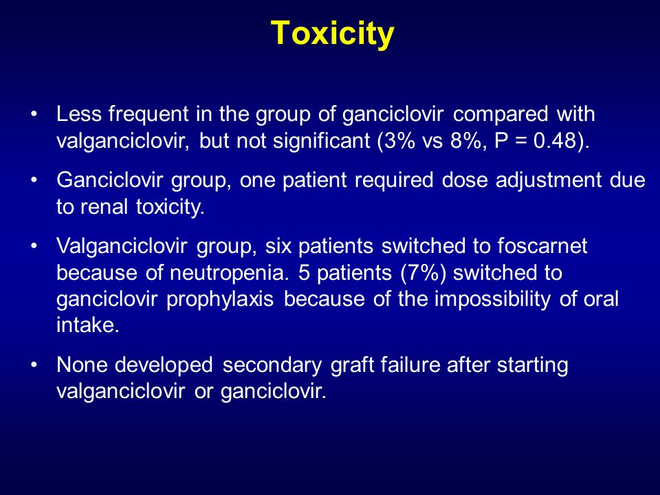 Toxicity Less frequent in the group of ganciclovir compared with valganciclovir, but not significant (3% vs 8%, P = 0.48).