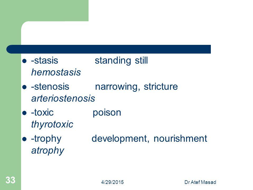-stasis standing still hemostasis -stenosis narrowing, stricture arteriostenosis -toxic poison thyrotoxic -trophy development, nourishment atrophy 4/2