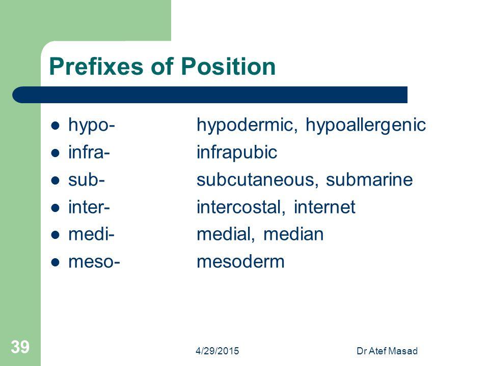 Prefixes of Position hypo-hypodermic, hypoallergenic infra-infrapubic sub-subcutaneous, submarine inter-intercostal, internet medi-medial, median meso