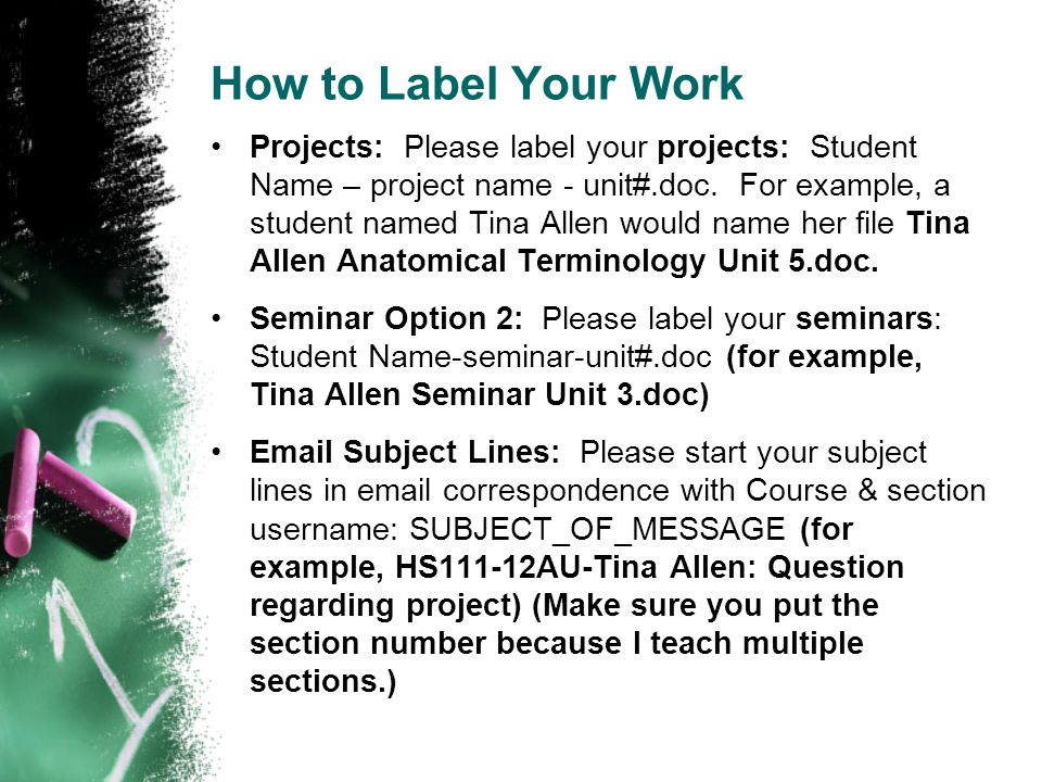 How to Label Your Work Projects: Please label your projects: Student Name – project name - unit#.doc. For example, a student named Tina Allen would na