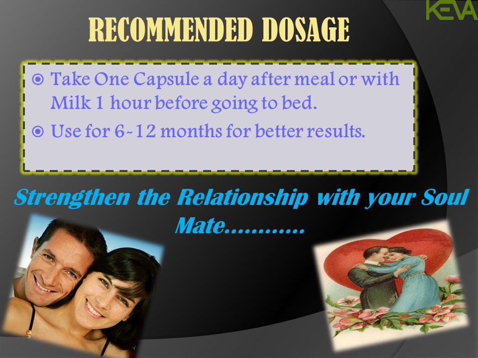 RECOMMENDED DOSAGE  Take One Capsule a day after meal or with Milk 1 hour before going to bed.  Use for 6-12 months for better results. Strengthen t
