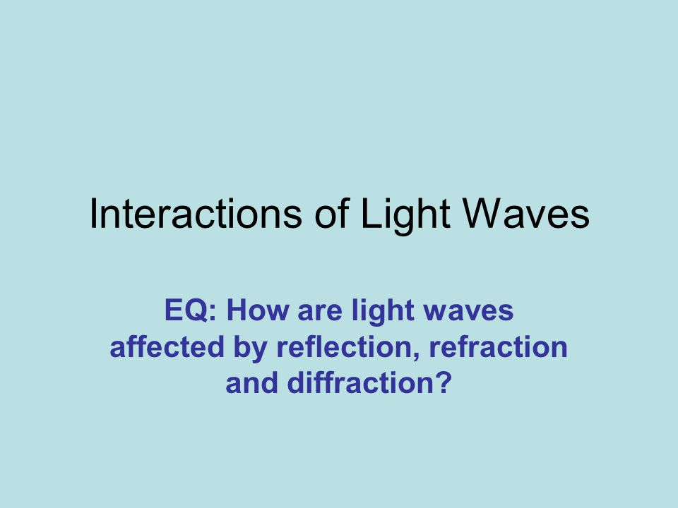 Interactions of Light Waves EQ: How are light waves affected by reflection, refraction and diffraction?