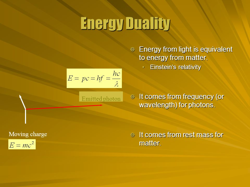 Matter Duality  The energy from matter and light are equivalent.