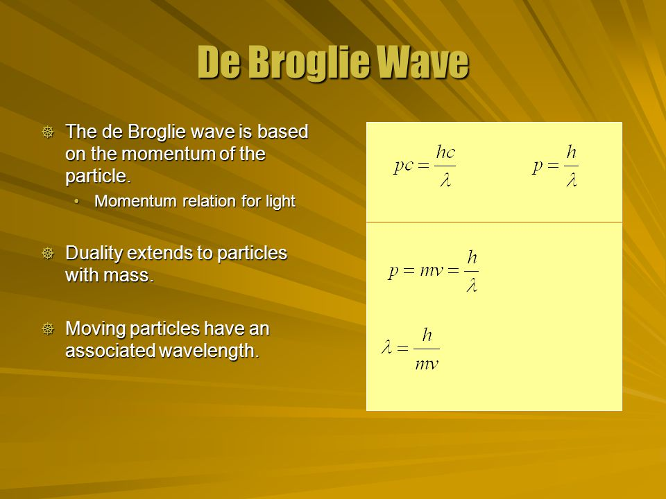 De Broglie Wave  The de Broglie wave is based on the momentum of the particle.