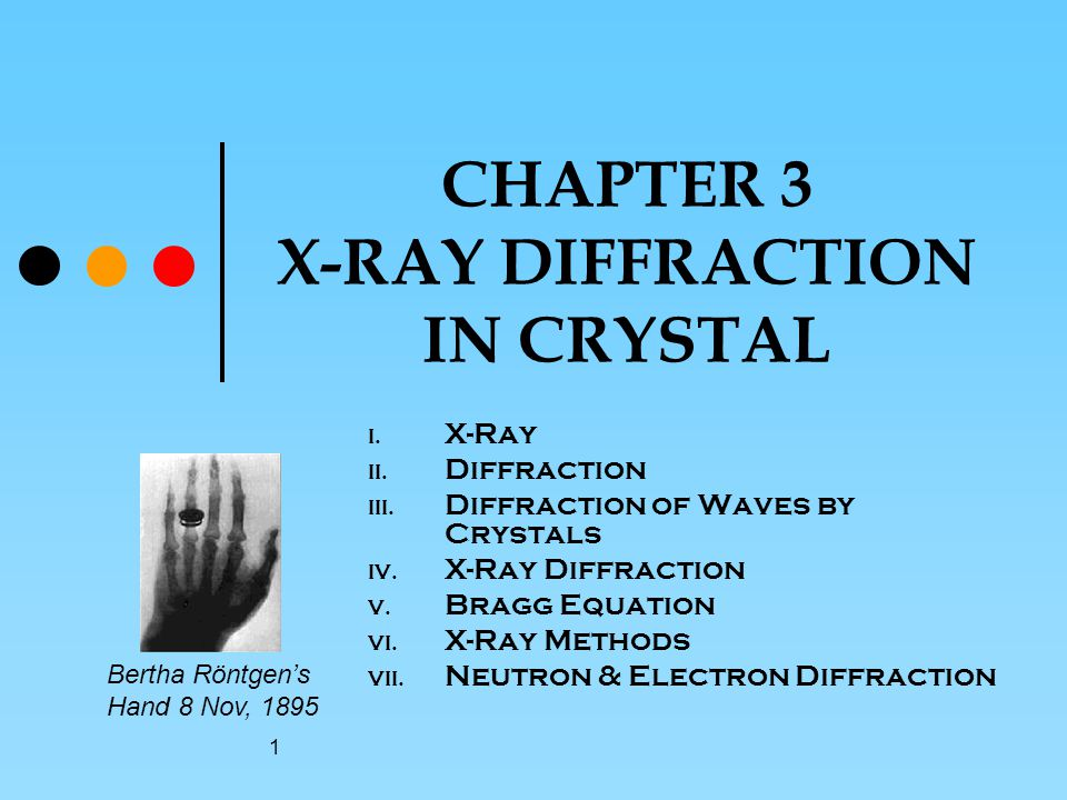 1 CHAPTER 3 X-RAY DIFFRACTION IN CRYSTAL I.X-Ray II.