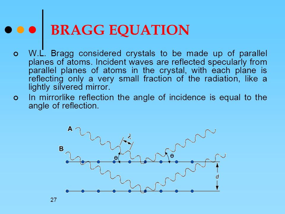 27 BRAGG EQUATION W.L.Bragg considered crystals to be made up of parallel planes of atoms.