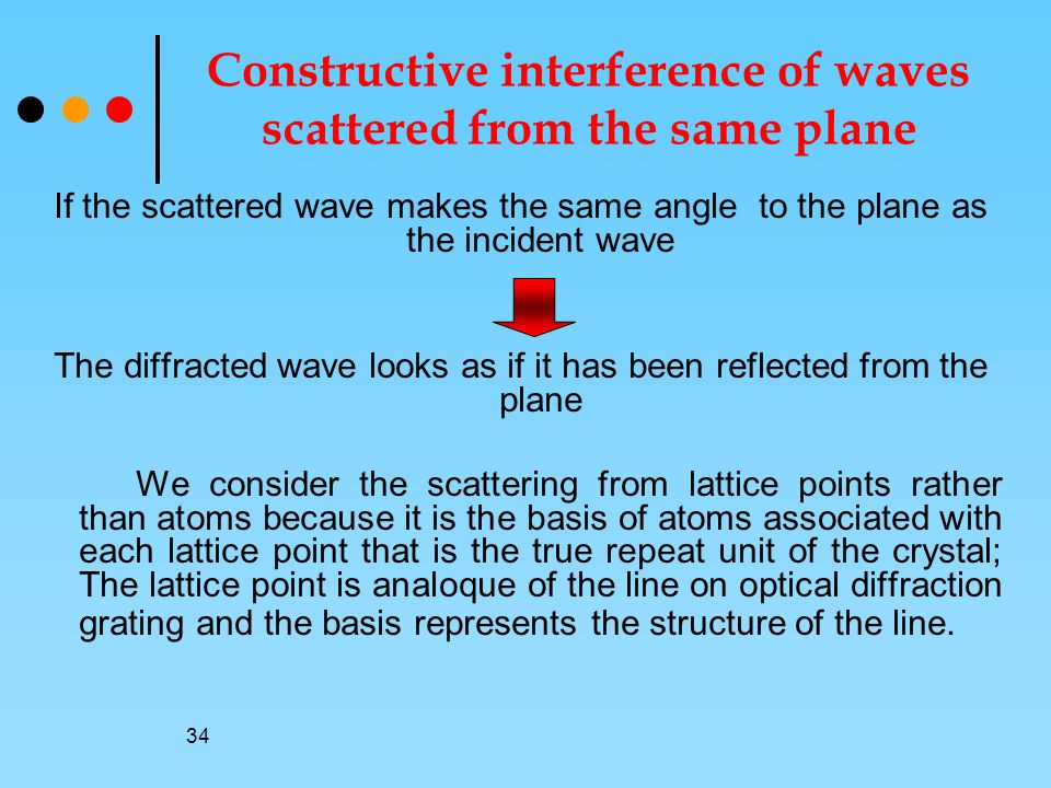 34 Constructive interference of waves scattered from the same plane If the scattered wave makes the same angle to the plane as the incident wave The diffracted wave looks as if it has been reflected from the plane We consider the scattering from lattice points rather than atoms because it is the basis of atoms associated with each lattice point that is the true repeat unit of the crystal; The lattice point is analoque of the line on optical diffraction grating and the basis represents the structure of the line.