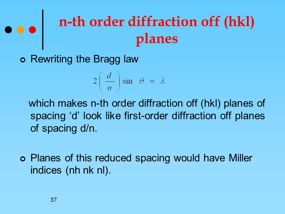 37 n-th order diffraction off (hkl) planes Rewriting the Bragg law which makes n-th order diffraction off (hkl) planes of spacing 'd' look like first-order diffraction off planes of spacing d/n.