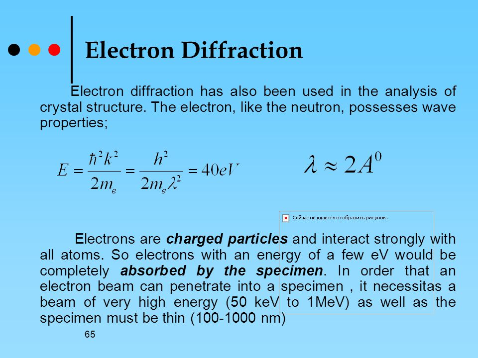 65 Electron Diffraction Electron diffraction has also been used in the analysis of crystal structure.