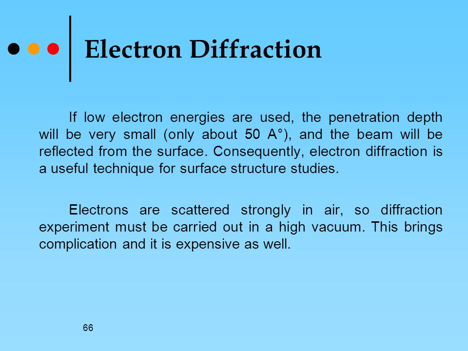 66 Electron Diffraction If low electron energies are used, the penetration depth will be very small (only about 50 A°), and the beam will be reflected from the surface.