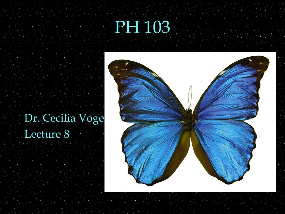 PH 103 Dr. Cecilia Vogel Lecture 8
