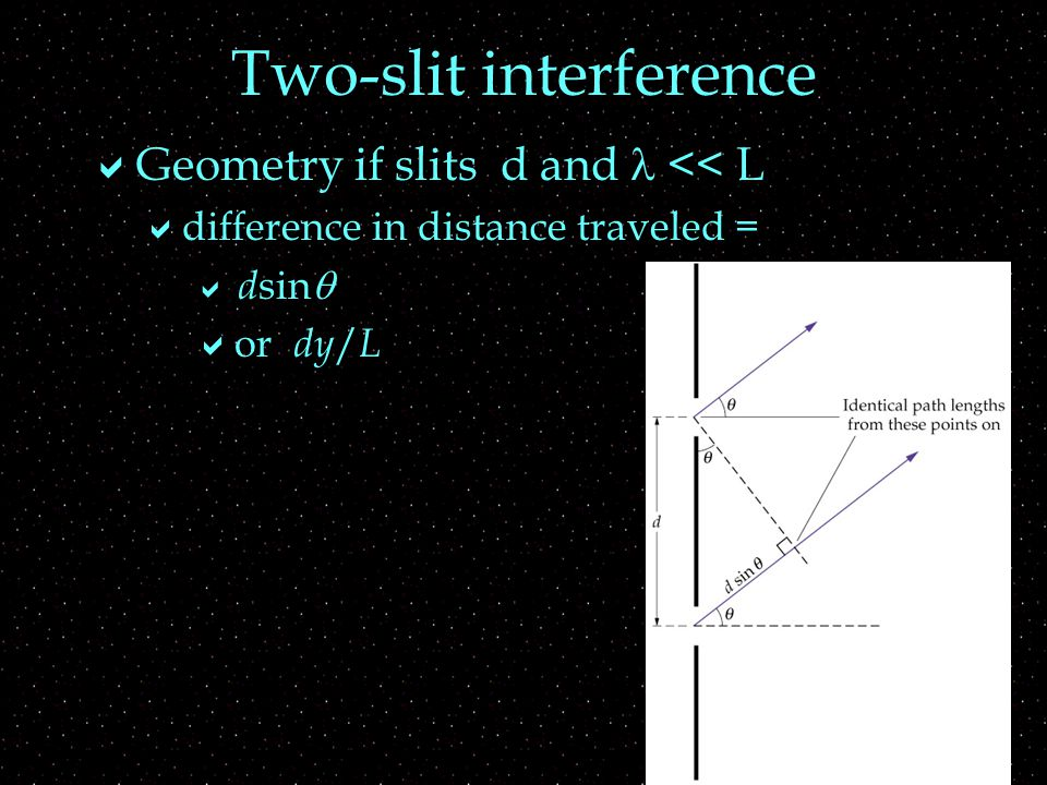 Two-slit interference  Geometry if slits d and << L  difference in distance traveled =  d sin   or dy / L