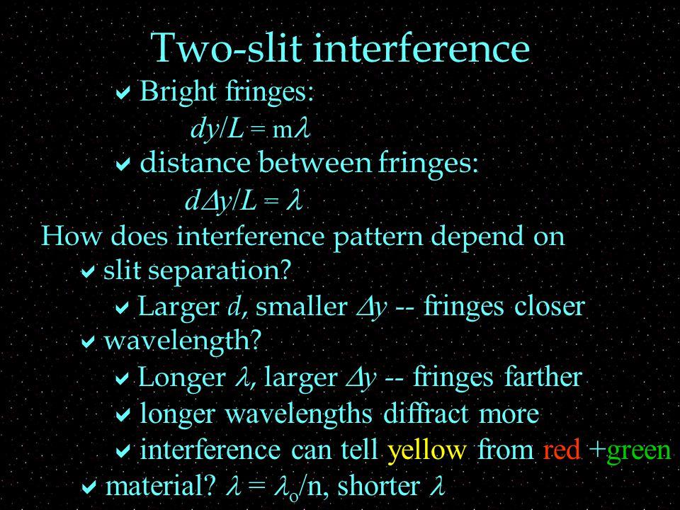 How does interference pattern depend on  slit separation?  Larger d, smaller  y -- fringes closer  wavelength?  Longer, larger  y -- fringes far