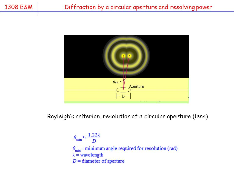 1308 E&M Diffraction by a circular aperture and resolving power Rayleigh's criterion, resolution of a circular aperture (lens)