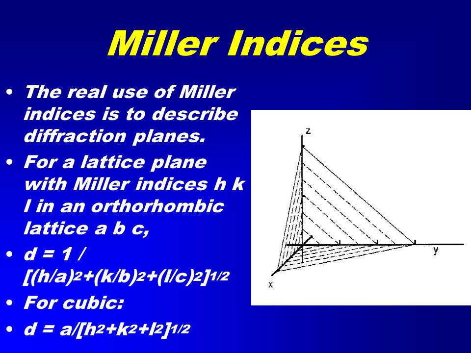 Miller Indices The real use of Miller indices is to describe diffraction planes.