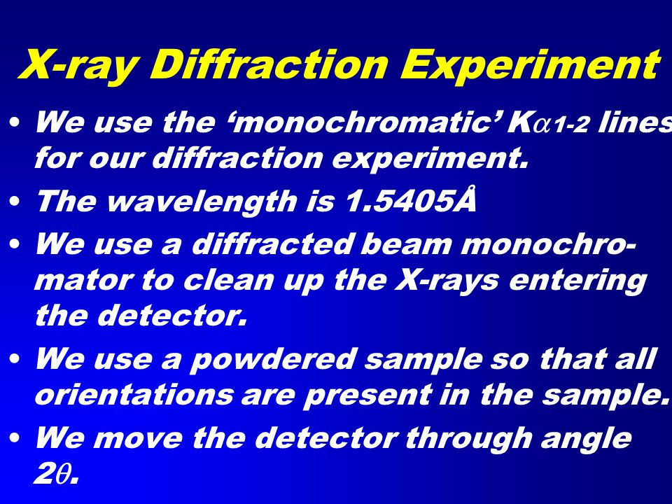 X-ray Diffraction Experiment We use the 'monochromatic' K  1-2 lines for our diffraction experiment.