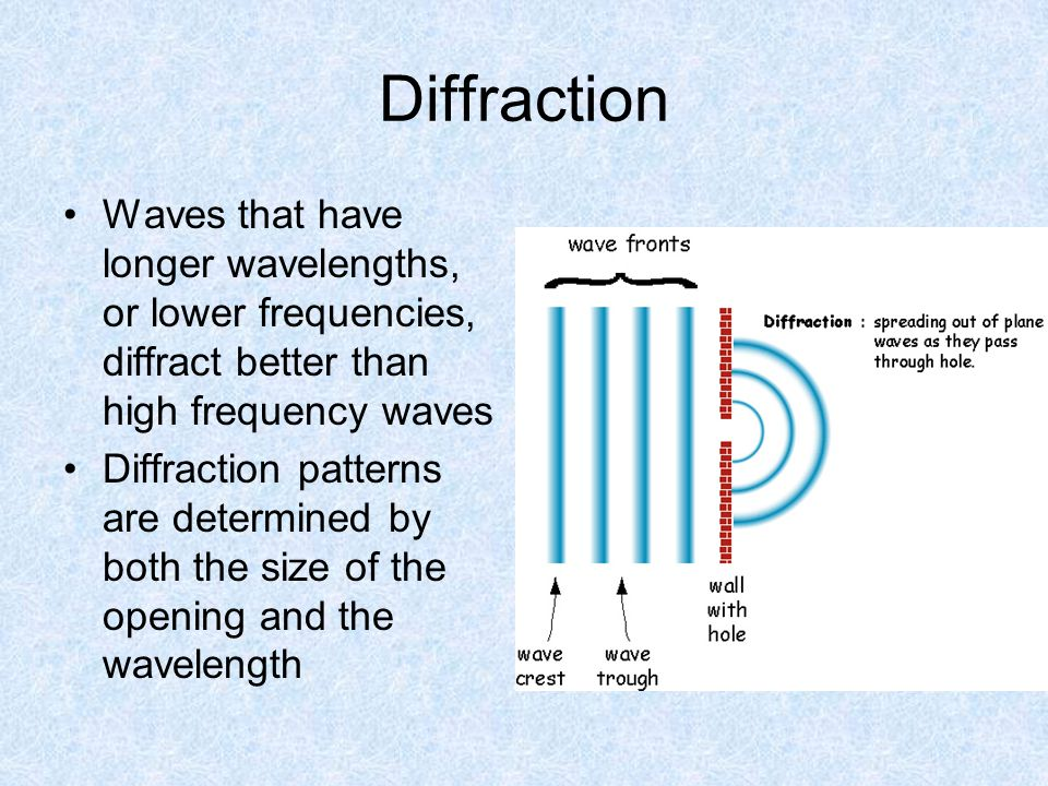 Diffraction Waves that have longer wavelengths, or lower frequencies, diffract better than high frequency waves Diffraction patterns are determined by both the size of the opening and the wavelength