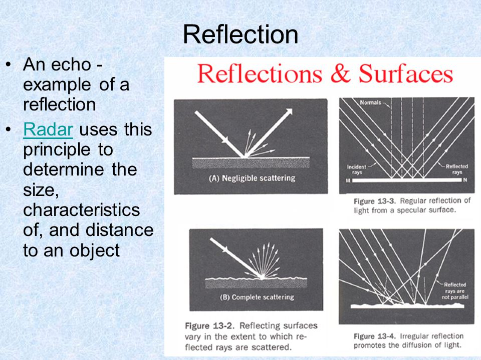 Reflection An echo - example of a reflection Radar uses this principle to determine the size, characteristics of, and distance to an object Radar