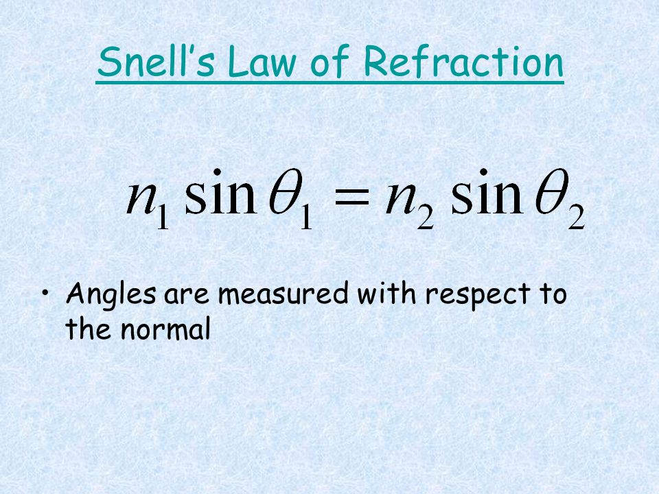Snell's Law of Refraction Angles are measured with respect to the normal