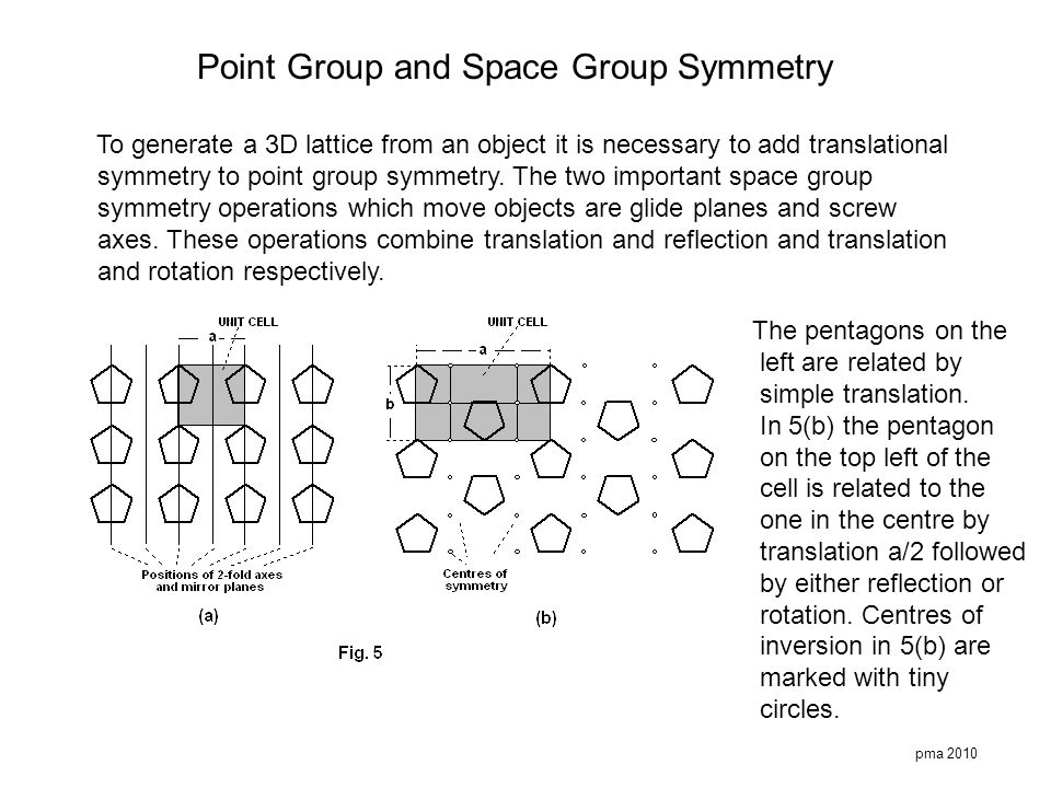 pma 2010 Point Group and Space Group Symmetry To generate a 3D lattice from an object it is necessary to add translational symmetry to point group sym