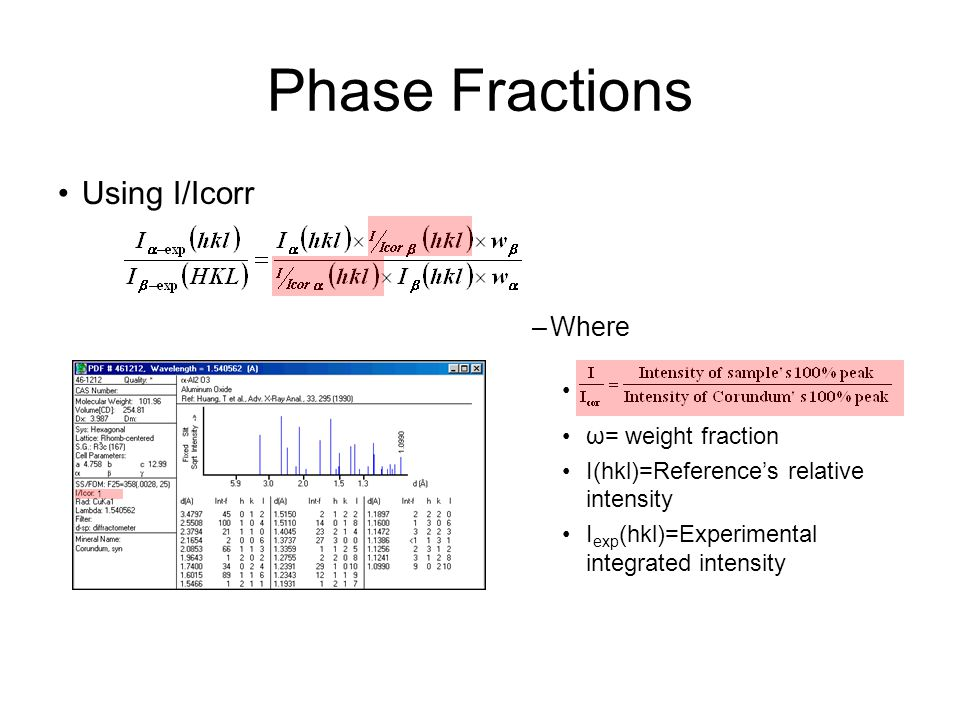 Phase Fractions Using I/Icorr –Where ω= weight fraction I(hkl)=Reference's relative intensity I exp (hkl)=Experimental integrated intensity 1
