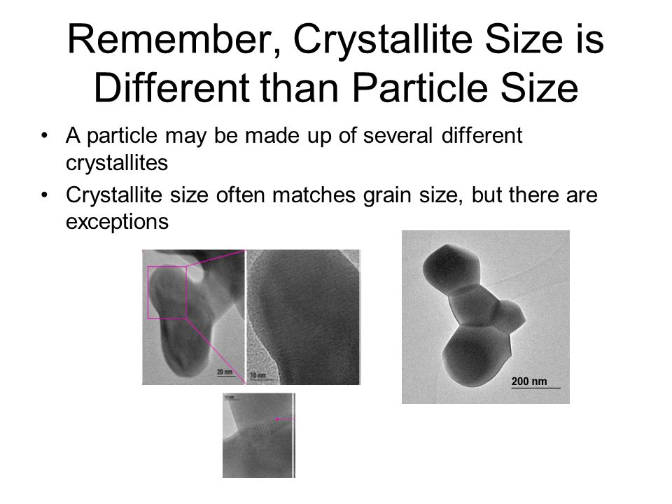 Remember, Crystallite Size is Different than Particle Size A particle may be made up of several different crystallites Crystallite size often matches