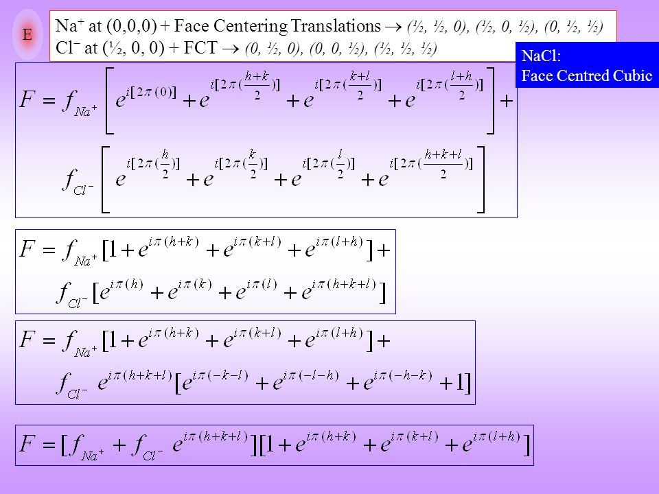 E Na + at (0,0,0) + Face Centering Translations  (½, ½, 0), (½, 0, ½), (0, ½, ½) Cl − at (½, 0, 0) + FCT  (0, ½, 0), (0, 0, ½), (½, ½, ½) NaCl: Face
