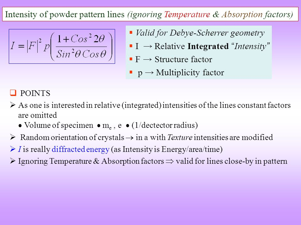 "Intensity of powder pattern lines (ignoring Temperature & Absorption factors)  Valid for Debye-Scherrer geometry  I → Relative Integrated "" Intensit"