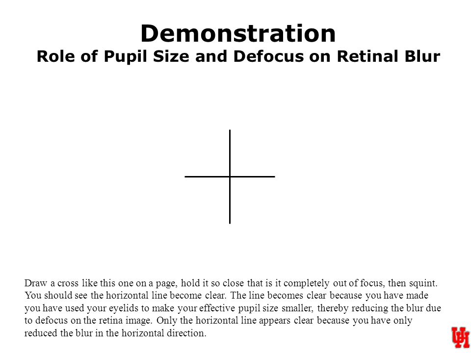 Demonstration Role of Pupil Size and Defocus on Retinal Blur Draw a cross like this one on a page, hold it so close that is it completely out of focus, then squint.