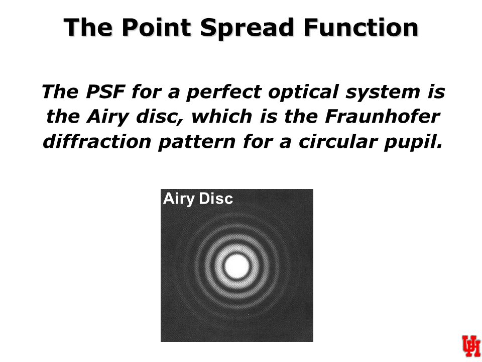Airy Disc The Point Spread Function The PSF for a perfect optical system is the Airy disc, which is the Fraunhofer diffraction pattern for a circular pupil.