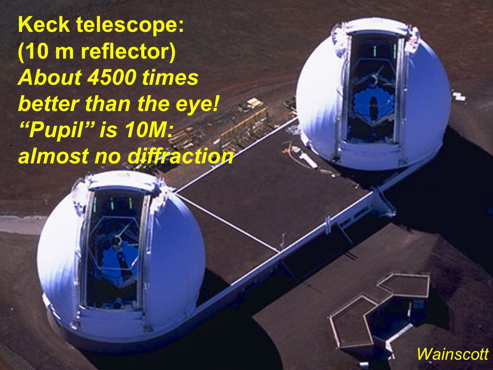 Keck telescope: (10 m reflector) About 4500 times better than the eye.