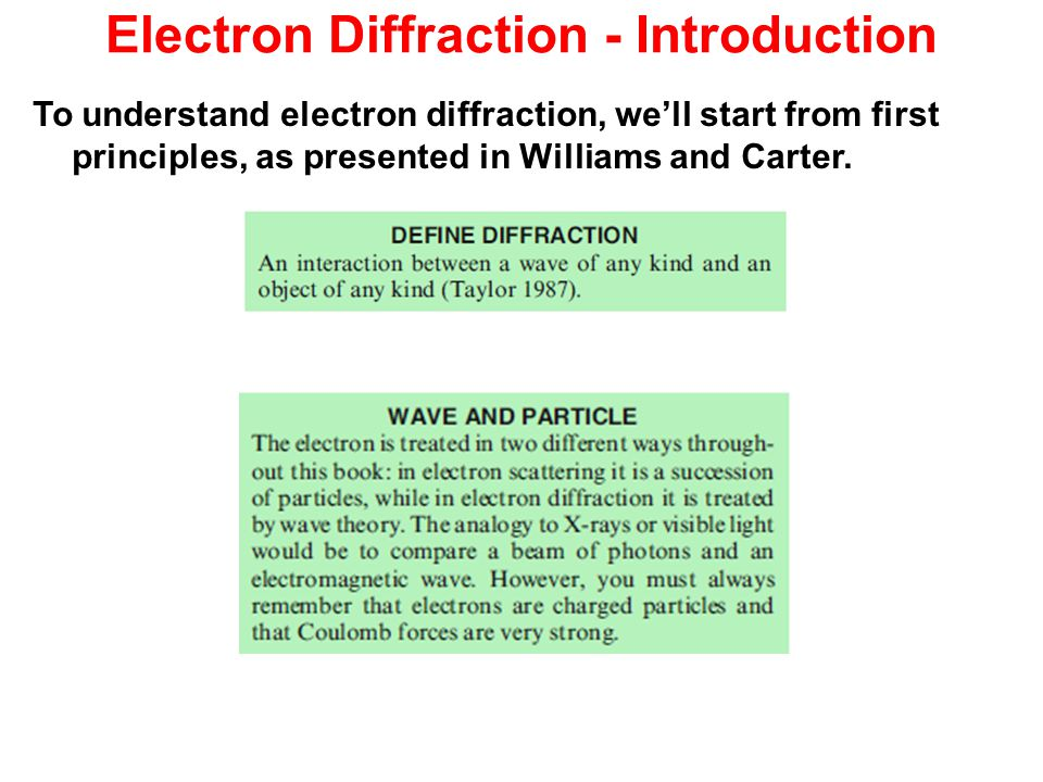 Electron Diffraction - Introduction To understand electron diffraction, we'll start from first principles, as presented in Williams and Carter.