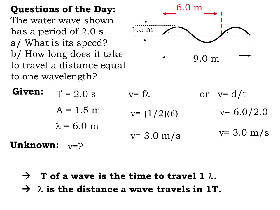 Questions of the Day: The water wave shown has a period of 2.0 s.