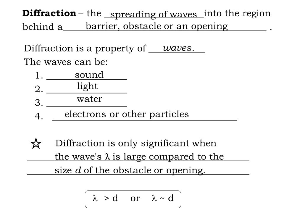 Diffraction – the _____________________into the region behind a___________________________________________. Diffraction is a property of ____________