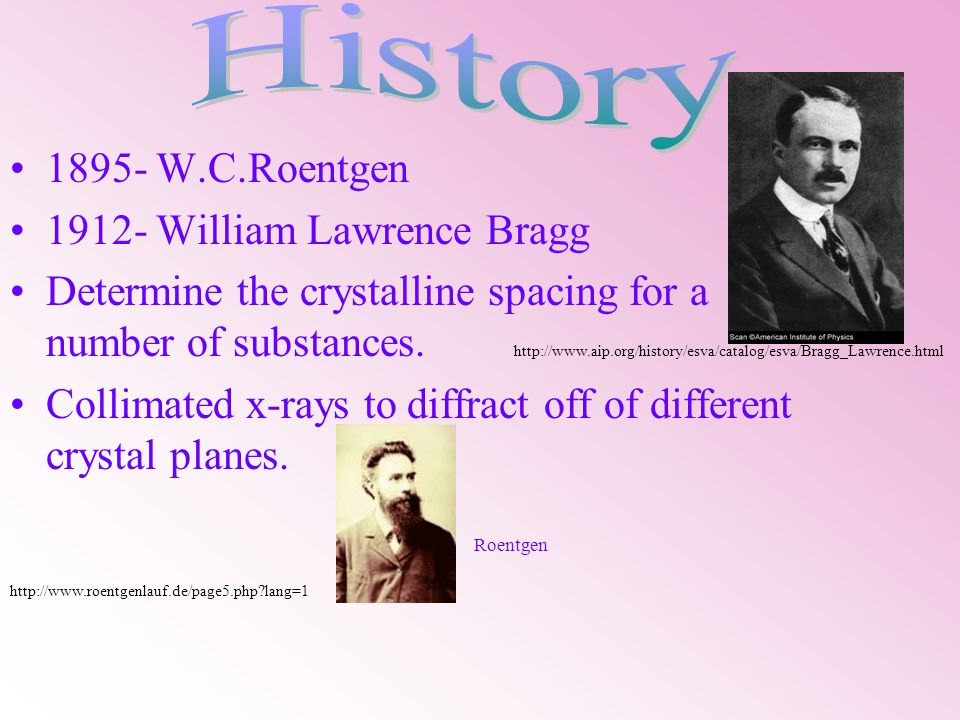 1895- W.C.Roentgen 1912- William Lawrence Bragg Determine the crystalline spacing for a number of substances.
