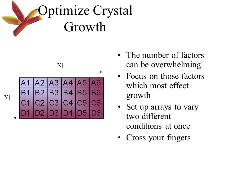 Optimize Crystal Growth The number of factors can be overwhelming Focus on those factors which most effect growth Set up arrays to vary two different