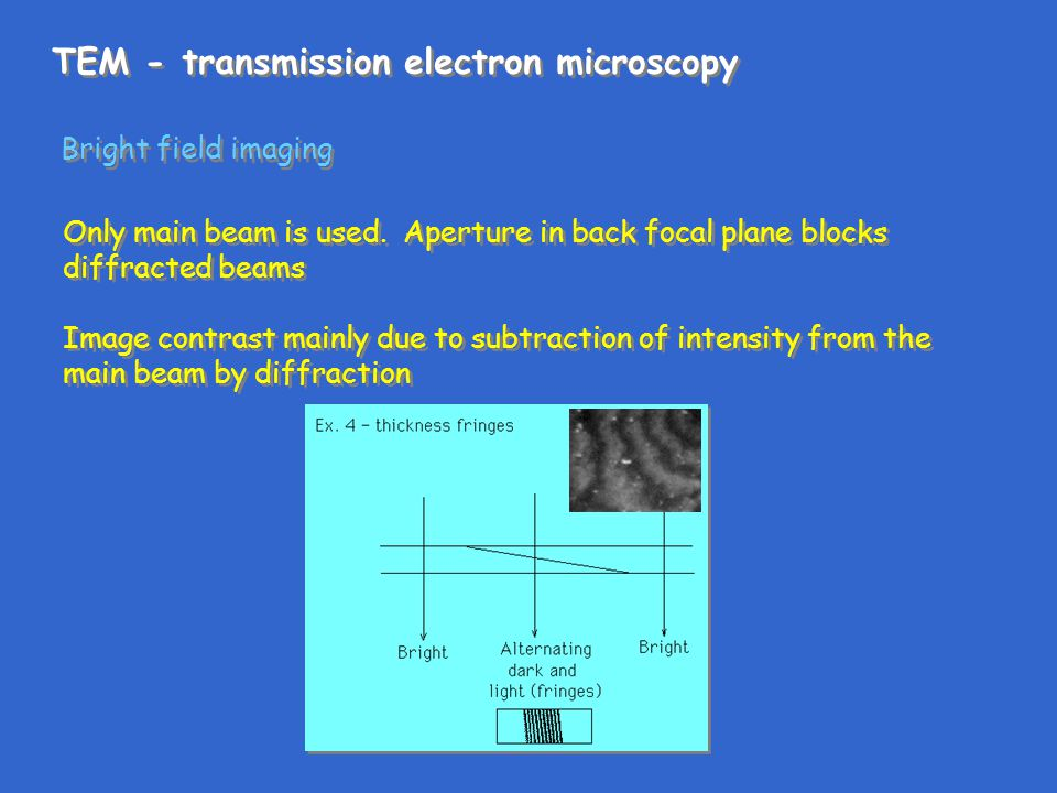 TEM - transmission electron microscopy Bright field imaging Only main beam is used. Aperture in back focal plane blocks diffracted beams Image contras
