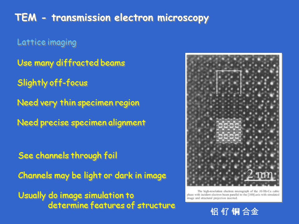 TEM - transmission electron microscopy Lattice imaging Use many diffracted beams Slightly off-focus Need very thin specimen region Need precise specim