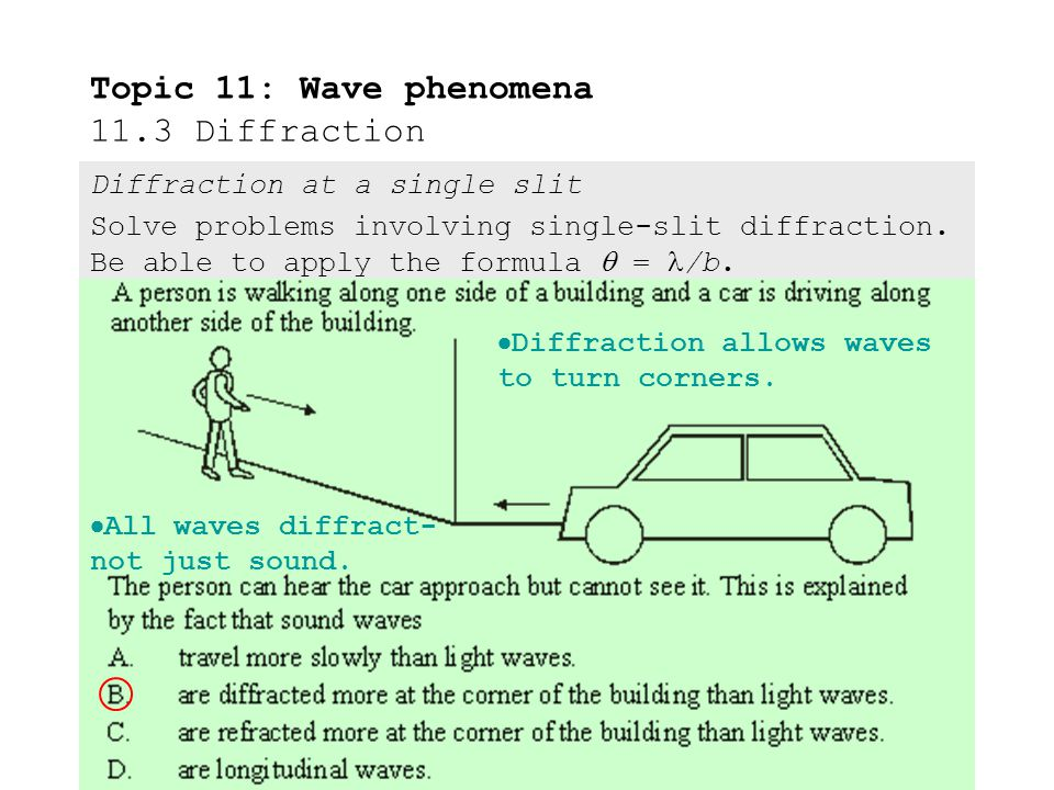 Topic 11: Wave phenomena 11.3 Diffraction INCIDENT WAVE DIFFRACTED WAVE REFLECTED WAVE Diffraction at a single slit Solve problems involving single-slit diffraction.
